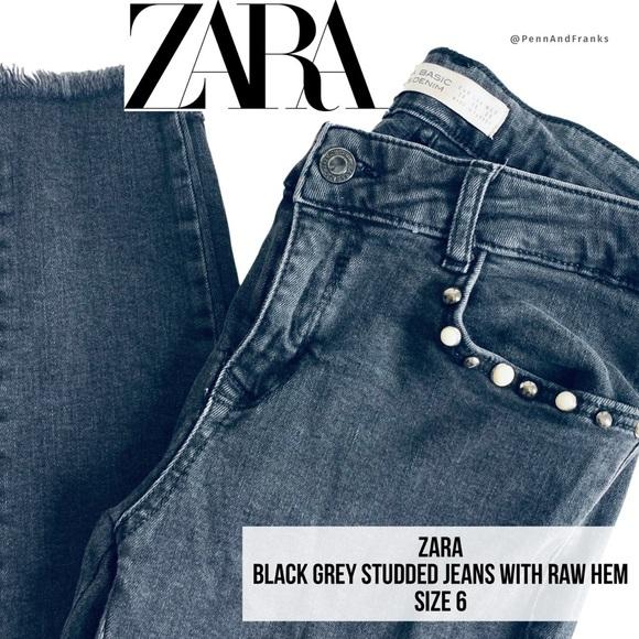 Zara Grey Black Studded Jeans Raw Hem Skinny 6/28